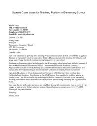 Elementary Teacher Resume Cover Letter Examples Template Sample For Teachers