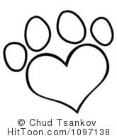 Coloring Page Clipart Vectors 1 Outlined Heart Shaped Dog Paw Print