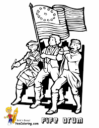 1776 War Fife And Drum Coloring Sheet