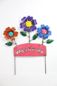 Recycled Metal Welcome Flower Stake Garden Decor