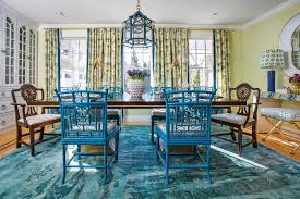 A Riot Of Blues And Greens Sets The Tone For This Dining Room Redesign By Jocelyn Chiappone Digs Design In Newport Photography Chris Vaccaro