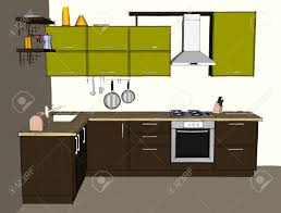 Sketch Drawing Of Green And Brown Modern Corner Kitchen Interior Front View Stock Photo