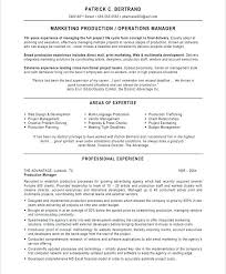 Sample Resume For Production Manager Old Version Manufacturing