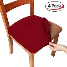 Smiry Stretch Spandex Jacquard Dining Room Chair Seat Covers Removable Washable Anti Dust Dinning