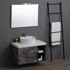 modulare badezimmermöbel mit rundem waschbecken im industrial design 90 cm