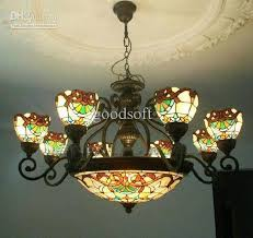 Tiffany Art Colorful Glass Chandelier Vintage Style Light Fixture Dining Room Living