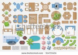 Isolated Vector Illustration Outdoor Furniture For Landscape Design Top View
