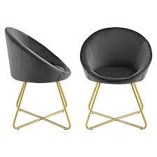 esszimmerstuhl 2er set lehnstuhl polsterstuhl 2x stühle stoff bezug samt metallbeine dunkelgrau schwarz en casa