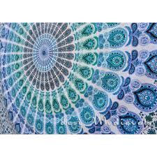 Blue Tie Dye Bedding by Indian Orange Blue Mandala Twin Size Boho Wall Bedding