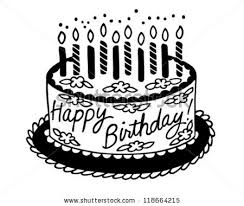 Happy Birthday Cake Retro Clipart Illustration