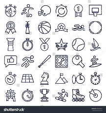 Competition Icons Set Of 36 Outline Such As Stopwatch Running