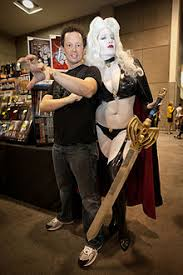 Brian Pulido With Belle Chere As Lady Death At SDCC 2010
