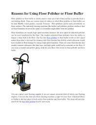Floor Buffer Polishers Home Use by Reasons For Using Floor Polisher Or Floor Buffer