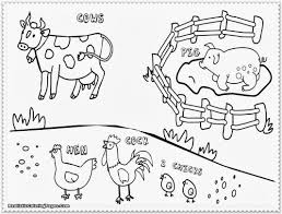 Cow Rooster Coloring Page Animal Pages Farm