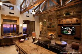 Rustic Living Room With Ceiling Fan Exposed Beam High Built In
