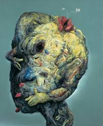 From Afar This Ambiguous Painting Appears To Depict A Bizarre Cartoon Like Head Closer Up An Even More Grotesque Form Emerges Which Arms And Hands