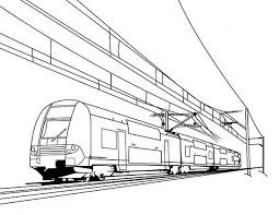 Train On Electric Cable Coloring Page