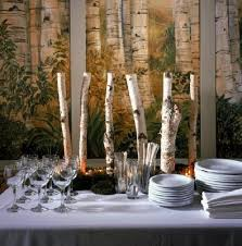 Birch Limbs As A Centerpice Brings Bit Of Rustic With The Elegant Table Setting Pieces Wheat And Grass Centerpiece