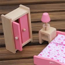 großhandel 6 teile satz holz puppenhaus puppe möbel schlafzimmer set mit mini doppelbett le tisch schrank puppenhaus zubehör kinder spielzeug