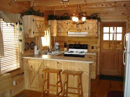 Excellent Pine Wood Unfinished Kitchen Cabinet With Rounded Island As Inspiring Rustic Ideas