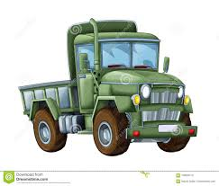 Cartoon Happy And Funny Military Truck - On White Background ...