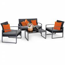 Check Out Goplus 4 PCS Outdoor Patio Garden Black Rattan Wicker Sofa Set  Furniture Cushioned - ShopYourWay 3pc Black Rocker Wicker Chair Set With Steel Blue Cushion Buy Stackable 2 Seater Rattan Outdoor Patio Blackgrey Bargainpluscomau Best Choice Products 4pc Garden Fniture Sofa 4piece Chairs Table Garden Fniture Set Lissabon 61 With Protective Cover Blackbrown Temani Amazonia Atlantic 2piece Bradley Synthetic Armchair Light Grey Cushions Msoon In Trendy For Ding Fabric Tasures Folding Chairrattan Chairhigh Back Product Intertional Caravan Barcelona Square Of Six
