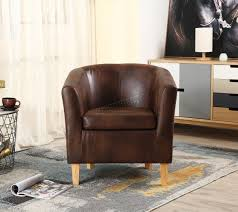 FoxHunter Brown Faux Leather Tub Chair Armchair Dining Room Lounge ... Dusk Velvet Tub Chair Oliver Bonas Foxhunter Armchair Faux Leather Ding Room Office Vegas Fabric Upholstered Modern Style Grey Or Tartan Appealing Kids Chairs 62 For Your Used With Linen Living Georgian A Fully Upholstered Style Bucket Large Comfy Burnt Orange New Kt Seat Height 280mm Hove Tub Chair Handmade In Uk Chairmaker Stripe Fniture Brown Black Wood Natural Floral