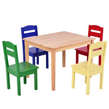 5 Pcs Kids Pine Wood Table Chair Set