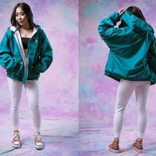 Bobby Dang Fashion 4900 Vtg 90s Michigan State Park Jacket Green Teal Windbreaker Health Goth 1990s Vintage