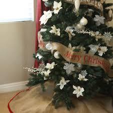 Burlap Christmas Tree Skirt With Pom Fringe
