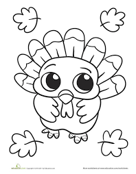 Thanksgiving Kindergarten Holiday Worksheets Baby Turkey Coloring Page