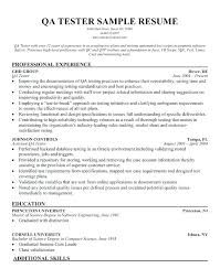 Quality Assurance Resume Template Tester Samples Software Inside Examples