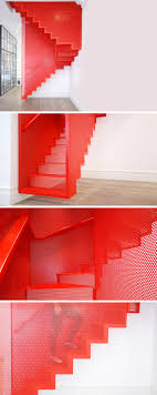 perforated steel suspended staircase by diapo inspired from