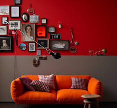 wandfarbe wohnideen mit eine wand in rot living at home