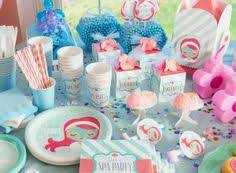 Little Spa Party Supplies From Birthday Express In Mint Green Coral Pink