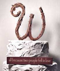 Letter W Rustic Twig Wedding Cake Topper
