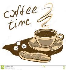 kaffeetasse und kuchen gezeichnete vektorabbildung