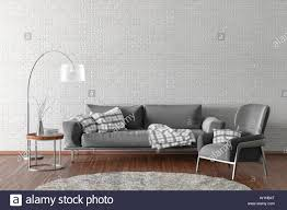 innenraum der modernen wohnzimmer mit weißen backsteinmauer