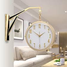 nordic einfache wanduhr luxus doppel seite gold uhr wand