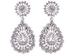 100 Art Deco Shape Elegant Pear Clear Crystal Rhinestone Drop Earrings