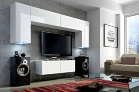 future 2 wohnwand wohnzimmer möbelset anbauwand schrankwand möbel set led rgb beleuchtung hochglanz schwarz weiß front hochglanz weiß korpus matt