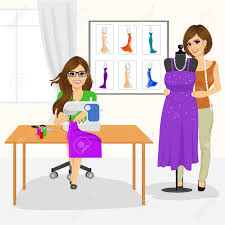 Dressmaker Woman Using Sewing Machine And Fashion Designer Draping