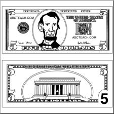 Clip Art Five Dollar Bill Outline B&W I abcteach