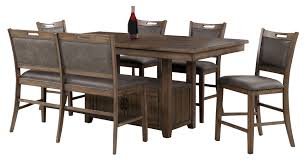 Tomas Pub Table, 4 Chairs & 1 Bench In Brown