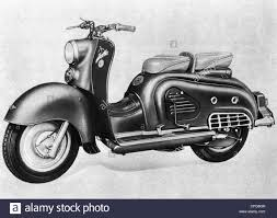 Transport Transportation Motorcycle Zuendapp Bella Motor Scooter 1954 Drawing West Germany 1950s 20th Century Historic