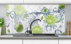 bilderwelten spritzschutz glas erfrischende limette 40cm x 80cm fliesenrückwand wandglas