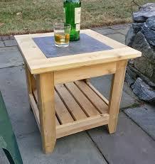 Handmade Cedar Patio Side Table With A Tile Inlay By REILwoodworks On Etsy
