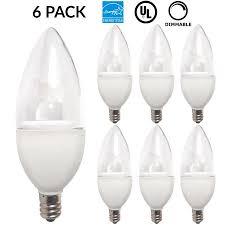6 pack led candelabra bulb 5 5watt 40w halogen equivalent