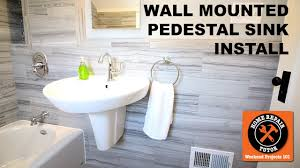 Replacing A Faucet On A Pedestal Sink by How To Install A Wall Mounted Pedestal Sink By Home Repair