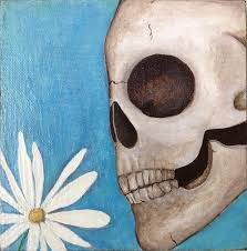 100 Alice Millard Skull With Daisy Painting By